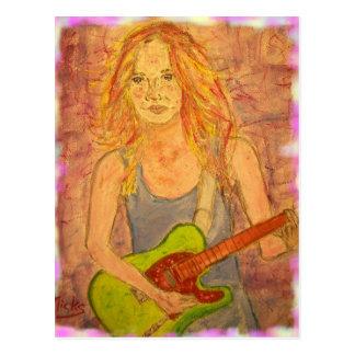 folk rock girl art postcard