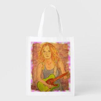 folk rock girl Art Reusable Grocery Bag