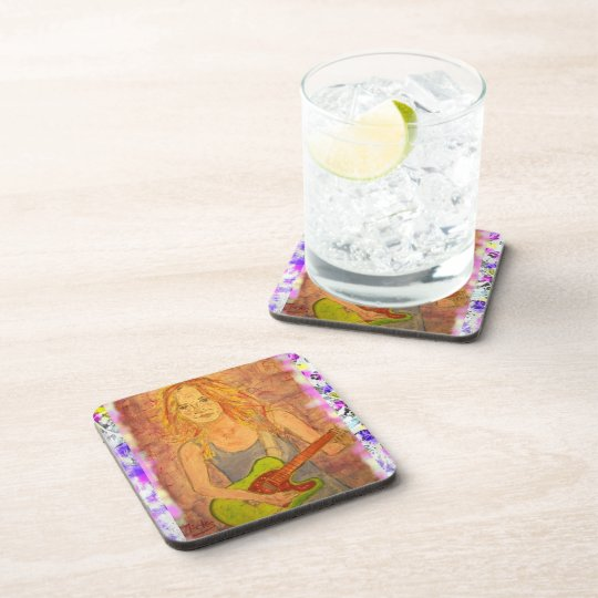 folk rock girl drip painting beverage coaster
