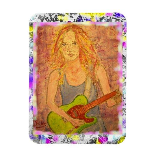 folk rock girl drip painting magnet