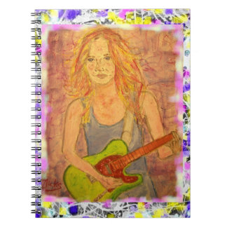 folk rock girl drip painting notebook