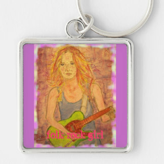 folk rock girl Silver-Colored square keychain