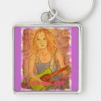 folk rock girl keychain