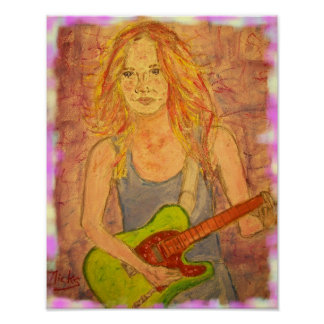 folk rock girl playin' electric art poster
