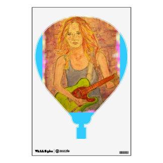 folk rock girl playin' electric art wall decal