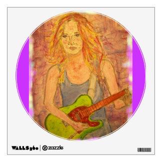 folk rock girl playin' electric art wall sticker