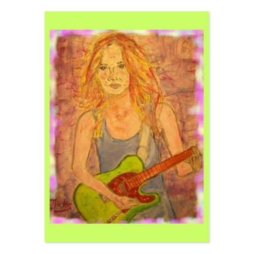 folk rock girl playin' electric business cards