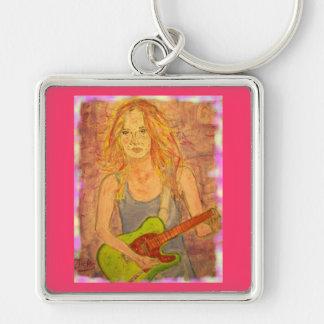 folk rock girl playin' electric colored edges keychain