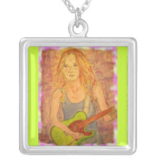folk rock girl playin' electric colored edges square pendant necklace