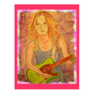 folk rock girl playin' electric colored edges postcard
