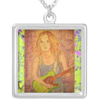 folk rock girl playin' electric drip square pendant necklace