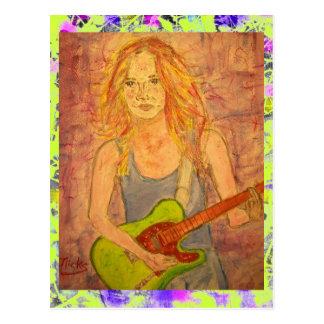 folk rock girl playin' electric drip postcard