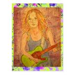 folk rock girl playin' electric drip postcards