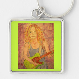 folk rock girl playin' electric Silver-Colored square keychain