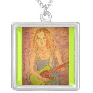 folk rock girl playin' electric square pendant necklace