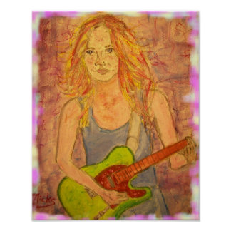 folk rock girl playin' electric poster