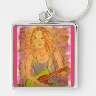folk rock girl playin' electric up close Silver-Colored square keychain
