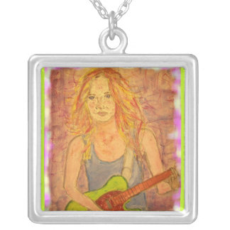 folk rock girl playin' electric up close square pendant necklace