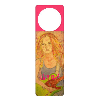 folk rock girl playing electric Chill Out Door Hanger