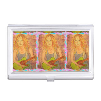 folk rock girl playing electric business card case