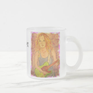 folk rock girl popart frosted glass coffee mug