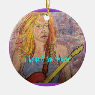 folk rock girl reflections  Live Music Ceramic Ornament