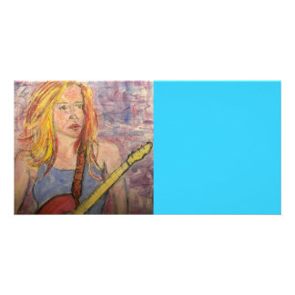 folk rock girl reflections personalized photo card