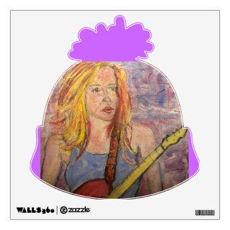 folk rock girl reflections wall sticker