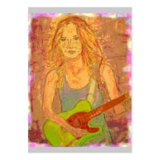 folk rock girl screenprint look large business card
