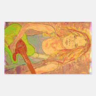 folk rock girl screenprint look rectangular sticker
