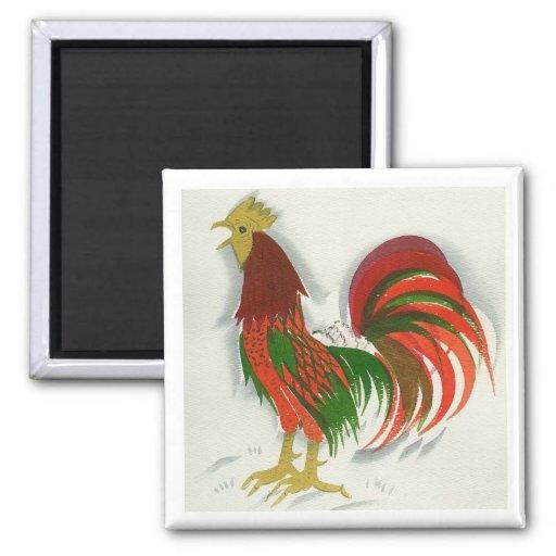 Folk Rooster #7 Fridge Magnets