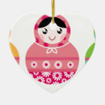 Folk Russia matroshka amazing Illustrated set Ceramic Ornament