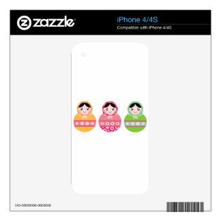 Folk Russia matroshka amazing Illustrated set Skin For iPhone 4S