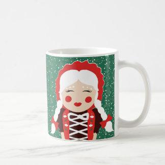 Folk Santa Mrs. Claus Snowy Happy Holidays Mug