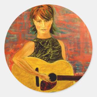 folk singer acoustic girl classic round sticker