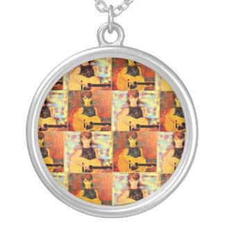 folk singer collage popart round pendant necklace