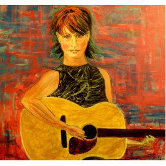 folk singer girl cutout