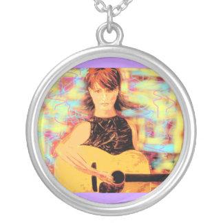 folk singer girl pop art round pendant necklace