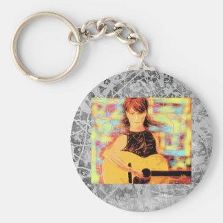 folk singer girl silver drip basic round button keychain