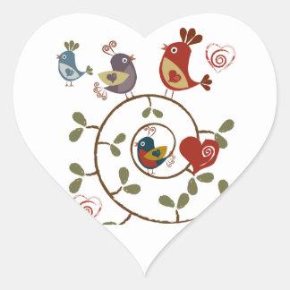 Folkart Birds Heart Sticker