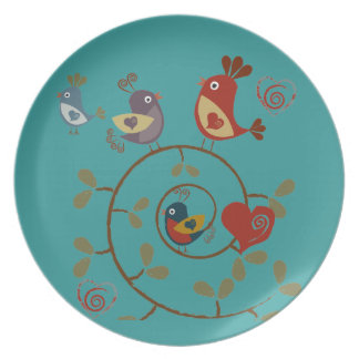 Folkart Birds Party Plates