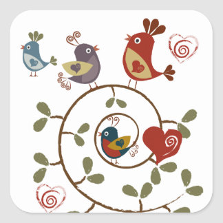 Folkart Birds Square Sticker