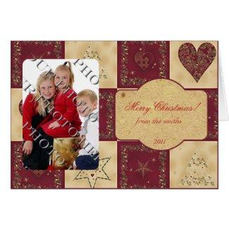 FolkArt Blocks in Red Cream Photo Christmas Card