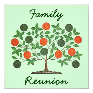 Folkart Family Tree Reunion Party Invitations