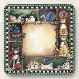 Folkart Kitty Cats & Birds Collage Coaster
