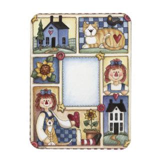 Folkart Sampler Raggedy Ann Saltbox Cat Sunflower Magnet
