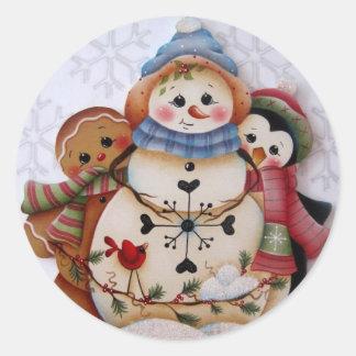 Folkart Snowman Gingerbread and Penguin Sticker