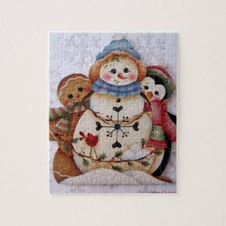 Folkart Snowman, Gingerbread Man, Penguin Puzzle