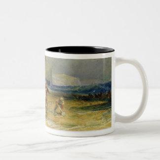Folkestone Harbour and Coast to Devon, c.1830 (w/c Two-Tone Coffee Mug