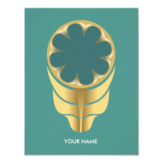 FOLKLORE FLOWER COMPLIMENT CARD GOLD